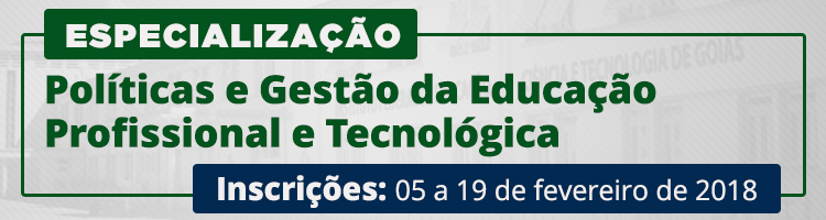 Banner Especialização Políticas e Gestão da Educação Profissional